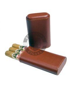 3 Finger Cigar Case Brown Cedar Lined