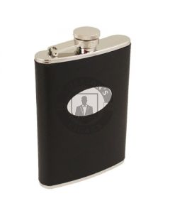8 Ounce Black Leather Flask