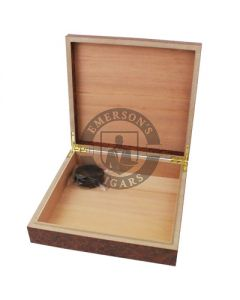 Burl 20 Count Humidor with Humidifier and Brass Hinges