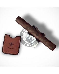 Les Fines Lames Chrome Foldable Cigar Stand and Tan Leather Case
