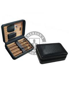 Manhattan 5 Cigar Case with Cigar Cutter and Lighter Black