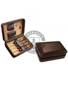 Manhattan 5 Cigar Case with Cigar Cutter and Lighter Brown