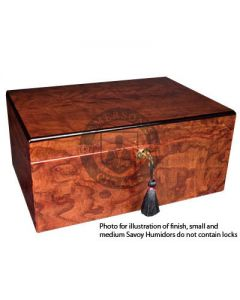 Savoy Ash Burl Medium Humidor (Capacity 50 Cigars)
