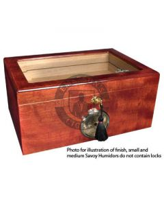Savoy Mahogany Glass Top Medium Humidor (Capacity 50 Cigars)
