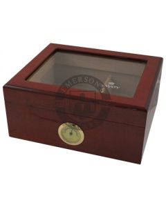 Savoy Mahogany Glass Top Small Humidor (Capacity 25 Cigars)