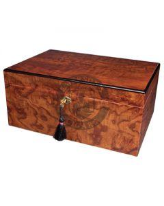 Savoy Ash Burl Large Humidor (Capacity 100 Cigars)