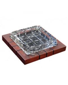 Crystal and Wood Cross-Hatched Ashtray