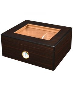 Red Walnut Glass Top 40 Count with Divider, Hygrometer, and Humidifier