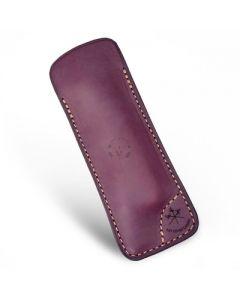 Les Fine Lames Le Petite Cigar Pocket Knife Leather Case Burgundy