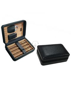Manhattan 5 Cigar Case with Cigar Cutter and Lighter Black
