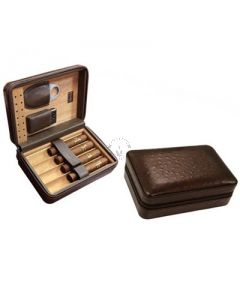 Manhattan 5 Cigar Case with Cigar Cutter and Lighter Brown