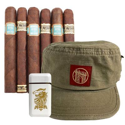 Bonus -  Drew Estate 6 Cigars, Lighter, and Hat (Retail Value = $100.00)